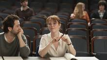 Michael Angarano and Julianne Moore in The English Teacher. (NICOLE RIVELLI/NYT)