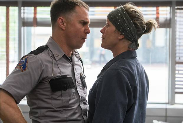 Sam Rockwell and Frances McDormand in Three Billboard Outside Ebbing, Missouri.