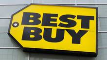 Best Buy logo is seen at a Best Buy store in Toronto in this April 19, 2011 file photo. Best Buy Co Inc. founder Richard Schulze said on Thursday he is exploring all options for his 20.1 percent stake in the electronics retailer, leading him to immediately relinquish his roles as chairman and a director. (Reuters)