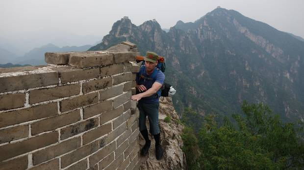 On an unrenovated section of the Great Wall at Jiankou, the consequences of a wayward step were too serious to contemplate.