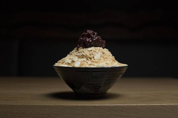 Seorak Yuzu almond snowbowl, traditionally known as bingsu.