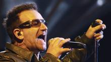 Irish singer Bono performs with his band U2 during their show at Morumbi stadium in Sao Paulo April 9, 2011, as part of their 360 Tour. (REUTERS/Paulo Whitaker/REUTERS/Paulo Whitaker)