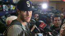 Montreal Canadiens' Brandon Prust speaks to reporters Saturday, May 11, 2013 in Brossard, Que. (The Canadian Press)