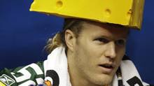 Green Bay Packers' Clay Matthews wears a cheesehead during media day for Super Bowl XLV, Feb. 1, 2011, in Arlington, Texas. (David J. Phillip/AP)