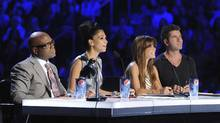 The X Factor judges (from right) Simon Cowell, Paula Abdul, Nicole Scherzinger and L.A. Reid. (Ray Mickshaw/Fox)
