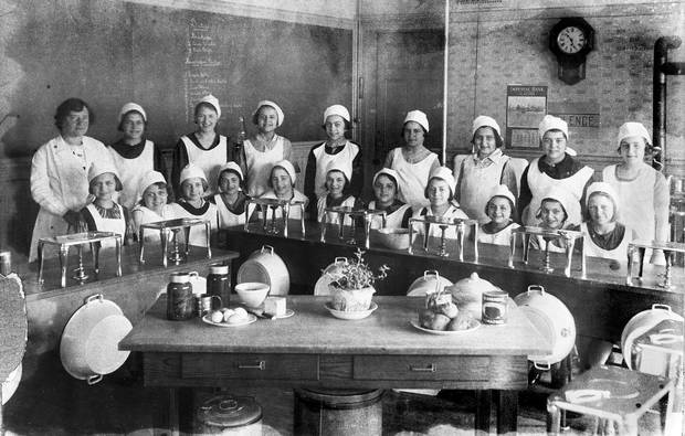 A household science class, 1920s.