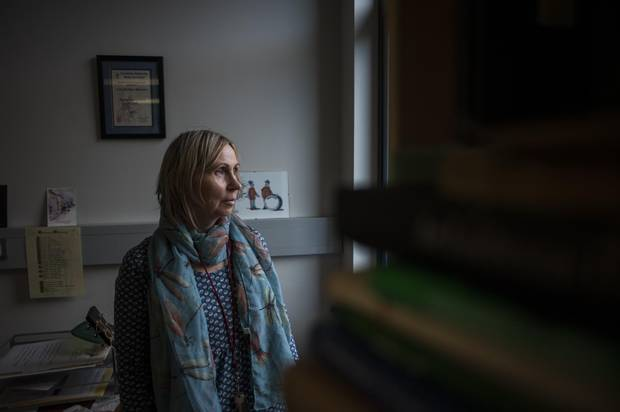 Linda Ervine, a language rights activist, poses for a portrait at the offices of Turas Irish Language Programme in Skainos.