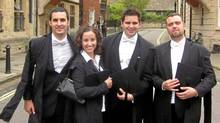 From left, Oxford graduating classmates Vincenzo Meschi from Chile, Alanna Petroff from Canada, Ricardo Celaya from Mexico and Manuel Fuertes from Spain. (Courtesy Alanna Petroff/Courtesy Alanna Petroff)