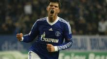 Schalke 04's Klaas-Jan Huntelaar celebrates a goal against Arsenal during their Champions League Group B soccer match in Gelsenkirchen November 6, 2012. (INA FASSBENDER/REUTERS)