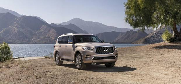 The QX80 features seating for seven.