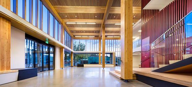 The interior of Michael Green Architecture's Wood Innovation and Design Centre.