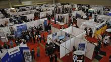 Hundreds of people turned out for the National Job Fair and Training Expo in Toronto last spring. The jobless rate for young people is nearly twice the national average, Statistics Canada reports. (J.P. MOCZULSKI For The Globe and Mail)