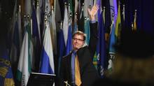B.C. NDP Leader Adrian Dix waves to delegates at the 109th Union of British Columbia Municipalities annual convention at the Victoria Convention Centre on Thursday, Sept. 27, 2012. (CHAD HIPOLITO/THE CANADIAN PRESS)