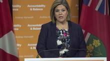NDP leader Andrea Horwath speaks during a press conference regarding the Ontario budget in Toronto on Tuesday, May 14, 2013.