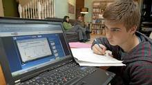 Walker Shanks is doing his homework at his West Kelowna B.C. home on Monday November 14, 2011. He is in a Grade 10 flipped math class at Okanagan Mission Secondary School. (Jeff Bassett/The Globe and Mail/Jeff Bassett/The Globe and Mail)
