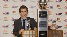 Jonathan Drouin of the Halifax Mooseheads receives the Player of the Year Trophy during the 2012-13 CHL Awards Ceremony in Saskatoon, Sask. on Saturday, May 25, 2013. (Liam Richards/THE CANADIAN PRESS)