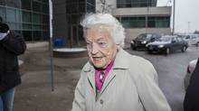 Mississauga Mayor Hazel McCallion, 92, arrives at the A. Grenville & William Davis Courthouse in Brampton April 11, 2013, to testify in a conflict of interest case. It is alleged that she extended a deadline for a development application that ended up benefiting her son's company to the amount of $11-million. (Philip Cheung For The Globe and Mail)