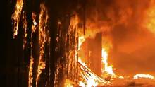 In this image taken from video obtained from Shaam News Network (SNN), which has been authenticated based on its contents and other AP reporting, a fire rages at a medieval souk in Aleppo, Syria. Syrian rebels and residents of Aleppo struggled Saturday to contain a huge fire that destroyed parts of the city's medieval souks, or markets, following raging battles between government troops and opposition fighters there, activists said. Some described the overnight blaze as the worst blow yet to a historic district that helped make the heart of Aleppo, Syria's largest city and commercial hub, a UNESCO world heritage site. (Shaam News Network SNN via AP video/AP)