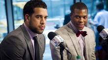Toronto Raptors new players Landry Fields (left) and Kyle Lowry answer questions at a news conference in Toronto, Tuesday, July 17, 2012. (Ian Willms/THE CANADIAN PRESS)