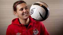 Canadian National Soccer team member Christine Sinclair poses for a photo in Richmond, B.C., on Tuesday, December, 18, 2012. (JONATHAN HAYWARD/THE CANADIAN PRESS)