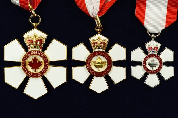 GG2014-0456-097 These are the insignia of the Order of Canada (three different levels - photo 2014-0456-097 depicts all three, from Companion, Officer and Member). please credit: Sgt Ronald Duchesne, Rideau Hall His Excellency the Right Honourable David Johnston, Governor General of Canada, presided over an Order of Canada investiture ceremony at Rideau Hall, on Friday, November 21, 2014, The Governor General, who is chancellor and Principal Companion of the Order, bestowed the honour on 2 Companions, 18 Officers and 22 Members. The Order of Canada was created in 1967, during Canada's centennial year, to recognize outstanding achievement, dedication to the community and service to the nation. Since its creation, more than 6 000 people from all sectors of society have been invested into the Order. Credit: Sgt Ronald Duchesne, Rideau Hall, OSGG