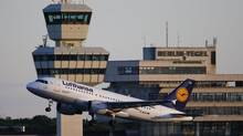 An aircraft operated by German carrier Lufthansa takes off from Berlin's Tegel airport, May 3, 2014. (Fabrizio Bensch/Reuters)