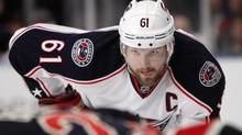 In this Feb. 19, 2012, file photo, Columbus Blue Jackets' Rick Nash (61) watches a face off during the third period of an NHL game against the New York Rangers at New York's Madison Square Garden. (Kathy Willens/AP)
