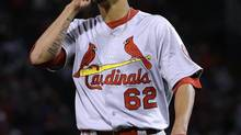St. Louis Cardinals relief pitcher Carlos Martinez looks up after the seventh inning of Game 2 of baseball's World Series against the Boston Red Sox Thursday, Oct. 24, 2013, in Boston. (MATT SLOCUM/AP)