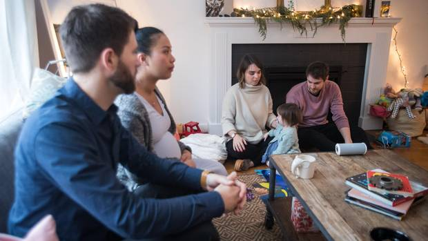 Conor and Veronica Lorimer talk with roommates Matt and Danielle Clarke and their daughter Frances.