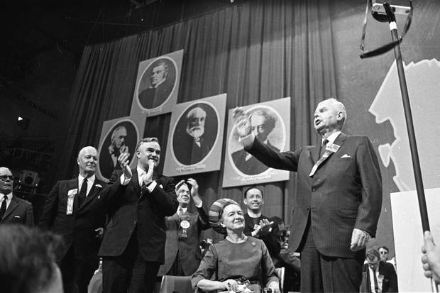 Sept. 7, 1967: Progressive Conservative leader John Diefenbaker, standing beside his wife, Olive, speaks at a party leadership convention at Toronto's Maple Leaf Gardens.