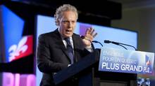 Quebec Premier Jean Charest speaks to delegates at the end of a Quebec Liberal Party meeting Sunday, May 6, 2012 in Victoriaville, Que. (Jacques Boissinot/The Canadian Press/Jacques Boissinot/The Canadian Press)