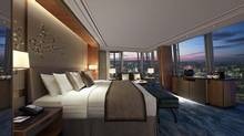 From floor-to-ceiling windows in the Shangri-la at the Shard, guests can see most of the major city landmarks – the Olympic Stadium, Tower Bridge, the Thames, the London Eye and St. Paul's. <137>The Shangri-La at The Shard, London<137>