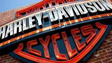 This Monday, July 16, 2012, photo, shows a sign for Harley-Davidson Motorcycles at the Harley-Davidsonstore in Glendale, Calif. (Grant Hindsley/AP)