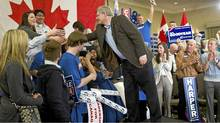 Prime Minister Stephen Harper shakes hands with supporters during a campaign event in Guelph Ont., on Monday, April 4, 2011. (Sean Kilpatrick/The Canadian Press/Sean Kilpatrick/The Canadian Press)