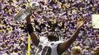 Baltimore Ravens free safety Ed Reed hoists the Vince Lombardi Tro