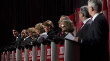 Federal Liberal Leadership candidates listen as fellow candidate Justin Trudeau does his introduction during the first debate in Vancouver, B.C., Sunday, Jan. 20, 2013. (JONATHAN HAYWARD/THE CANADIAN PRESS)