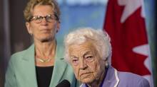 Ontario Premier and Liberal Leader Kathleen Wynne, background, and Mississauga Mayor Hazel McCallion address the media in Mississauga on Wednesday May 14 , 2014. (Chris Young/THE CANADIAN PRESS)