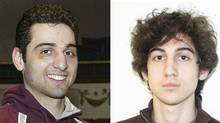 Tamerlan and Dzhokhar Tsarnaev are shown in undated FBI handout photos in this combination photo. Khairullozhon Matanov is alleged by police to have lied about his relationship to the brothers accused in the 2013 Boston Marathon bombing. (HANDOUT/REUTERS)