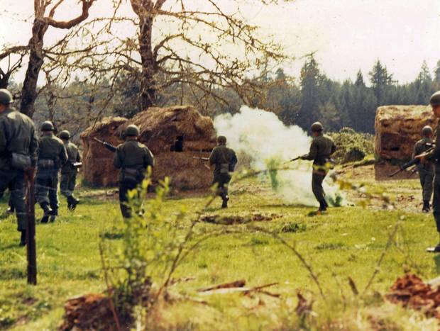 Soldiers train at Fort Lewis in Washington state in 1970.