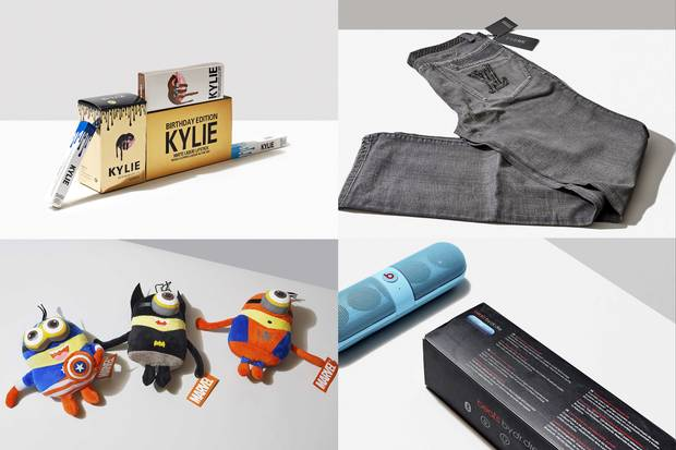"""A selection of counterfeit products rounded up by Lipkus and Whalen (clockwise from top left): Kylie Cosmetics makeup that caused rashes; a pair of jeans that mixes two competing premium brands, Gucci and Louis Vuitton; a phony Beats by Dre Bluetooth speaker; and plush toys—a mashup of Disney's Avengers and Universal's Minions characters—with no """"new material only"""" tags"""