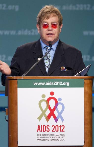 Sir Elton John speaks at the XIX International Aids Conference, Monday, July 23, 2012, in Washington. (Carolyn Kaster/AP)