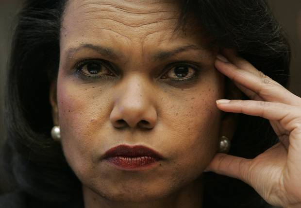 Secretary of State Condoleezza Rice testifies on Capitol Hill in Washington in 2008 before the House Foreign Affairs Committee.