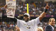 Baltimore Ravens inside linebacker Ray Lewis celebrates victory over the San Francisco 49ers in Super Bowl XLVII in New Orleans, Louisiana, February 3, 2013. (JEFF HAYNES/REUTERS)