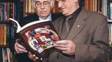 Harry Cuff, right, had a lasting relationship with Memorial University of Newfoundland, including his friendship with former president Les Harris, left.