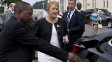 Quebec Premier Pauline Marois leaves the Francophonie summit in the Democratic Republic of the Congo on Sunday. (Paul Chiasson/THE CANADIAN PRESS)