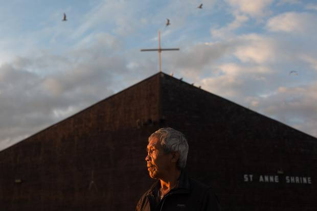 Peter Tambour, from Hay River, NWT, finished a 12 month religious based treatment program a month before coming to the pilgrimage at Lac Ste Anne, Alberta on Monday, July 20, 2015