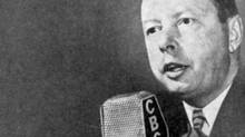 Foster Hewitt calling the play by play for Hockey Night in Canada on CBC. Photo of Hewitt circa December 1948 (Gilbert Milne studio shot). (CBC)