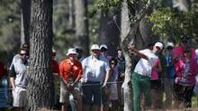 Canada's Mike Weir hits a shot on the ninth hole during the first round of the Masters golf tournament at the Augusta National Golf Club on Thursday, April 10, 2014. Weir finished the first round with a one-over-par 73 (MIKE SEGAR/REUTERS)