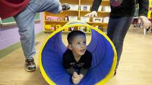 Brayden Viau, 3, plays at a Calgary daycare owned by Edleun Group Inc. (Chris Bolin for The Globe and Mail/Chris Bolin for The Globe and Mail)