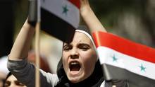 A Syrian living in Turkey shouts slogans during a protest against the government of Syria's President Bashar al-Assad after Friday prayers in front of the Syrian consulate in Istanbul August 19, 2011. (REUTERS/OSMAN ORSAL/REUTERS/OSMAN ORSAL)